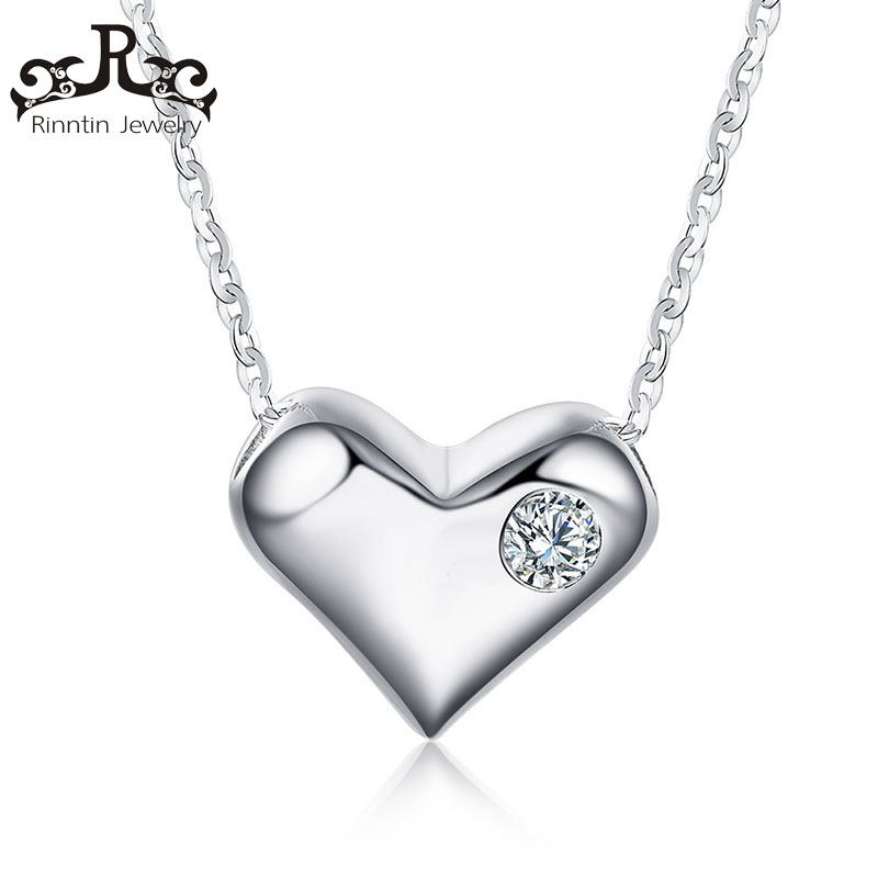 Real 925 Sterling Silver Jewelry Heart Pendant Necklaces Paved Cubic Zircon Trendy Women Jewelry Anniversary Gift TSN33