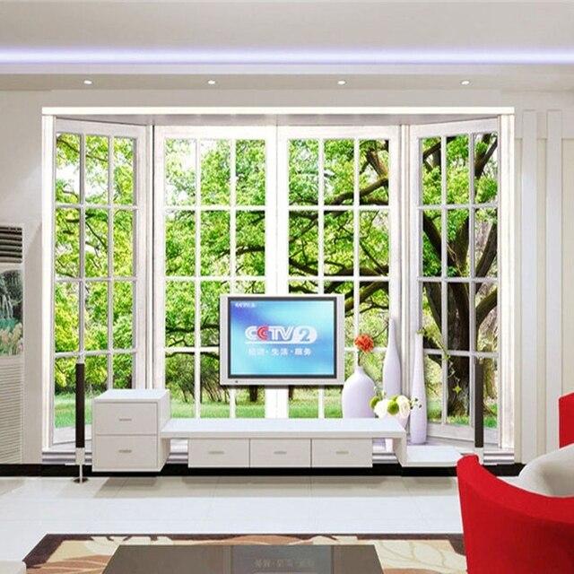 Custom Wall Mural Green Tree Living Room Dining Bedroom Background False Window Wallpaper