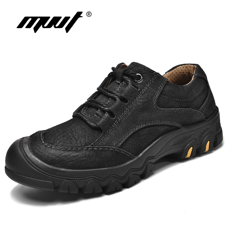 MVVT Outdoor Tooling Men Boots Work Safety Top Quality Genuine Leather Boots Men Winter Ankle Boots
