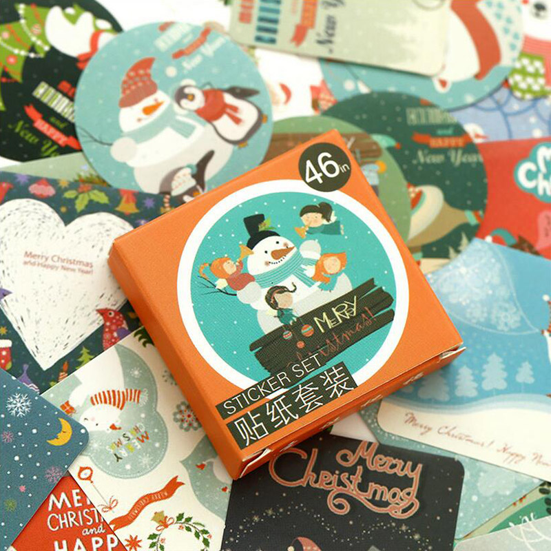 46 Pcs/ Box Christmas Greeting Mini Paper Sticker Decoration DIY Diary Scrapbooking Seal Sticker Kawaii Stationery