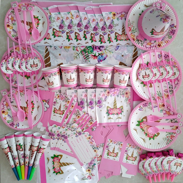 WEIGAO Unicorn Birthday Party Decorations Kids Cartoon Horse Disposable Tableware Sets 1st Birthday Paper Cup/Hat/Napkins Favors 4