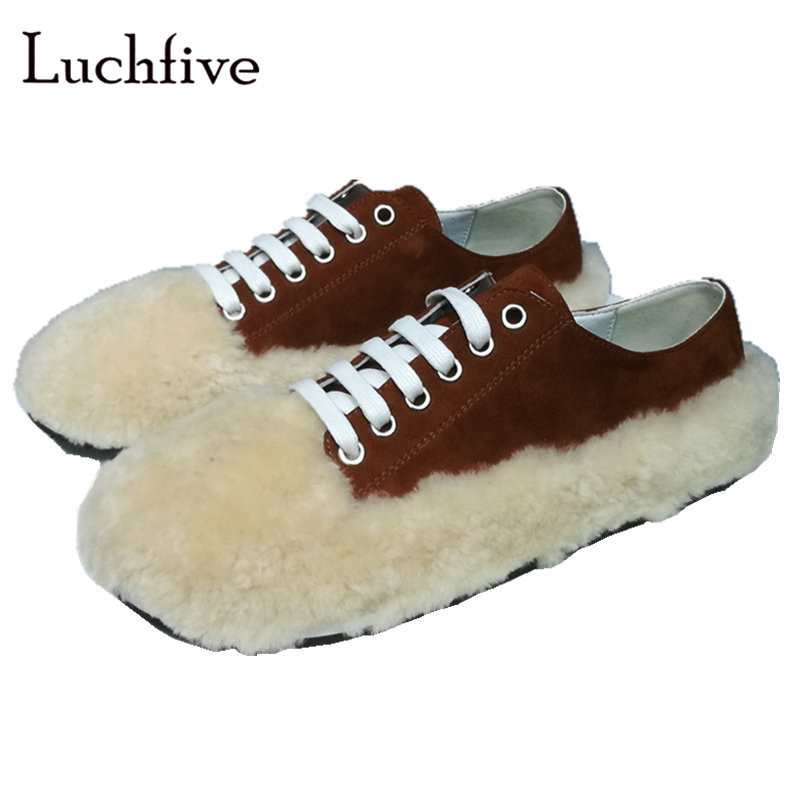 Kid suede wool flat shoes women round toe genuine leather lace up lazy loafers brown red fashion autumn shallow runway shoes