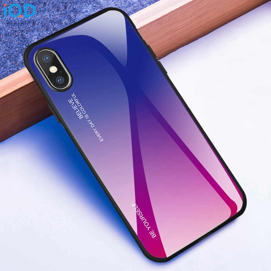 IQD For iPhone X Xr Xs Max Case Color gradient tempered glass back Cover TPU bumper frame phone Case For iPhone 8 7 6 6S Plus xs