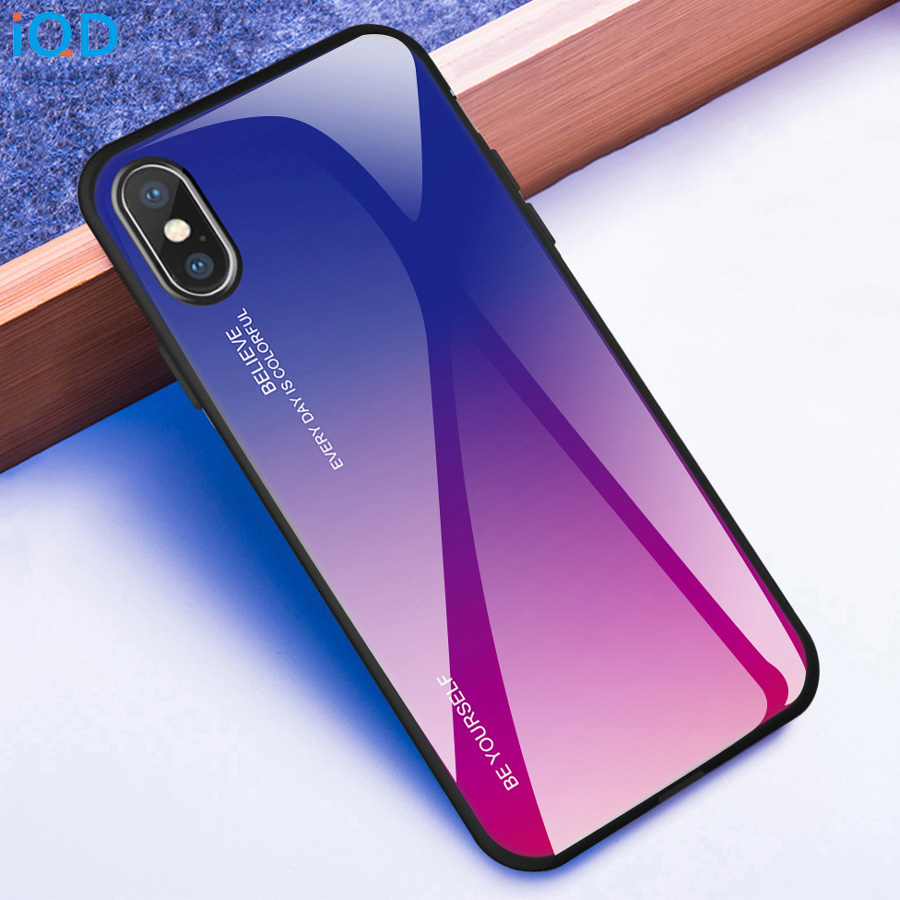 IQD For iPhone X Xr Xs Max Case Color gradient tempered glass back Cover TPU bumper frame phone Case For iPhone 8 7 6 6S Plus xs iphone