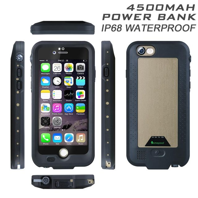 low priced 67b3e 13b68 4300mAh IP68 Power Bank External Battery Pack Waterproof Cover Case For  Iphone 6 6S Plus 2 meters Water Proof Back Cases-in Phone Bags & Cases from  ...
