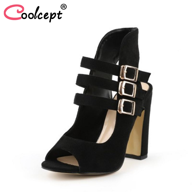 Coolcept Women Real Leather High Heel Sandals Open Toe Ankle Strap Sandals Summer Charming Shoes Women Footwear Size 34-39 plus size 34 43 new summer shoes woman open toe women ankle strap wedges sandals casual low heel sandals women sandals