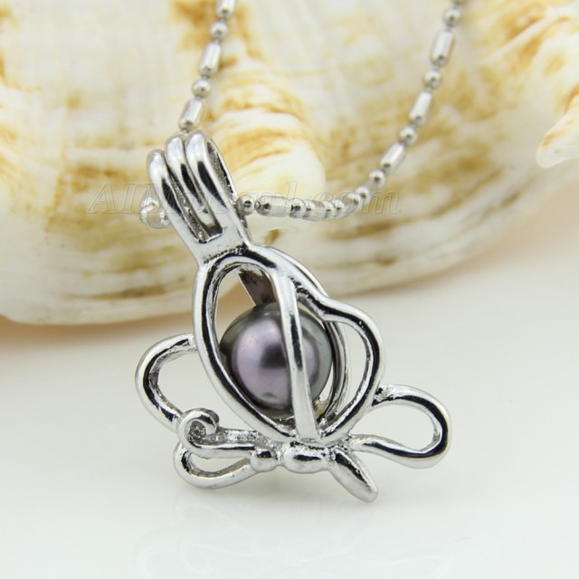 Nice butterfly locket pendant necklace silver plated cage pendant nice butterfly locket pendant necklace silver plated cage pendant necklace for women mozeypictures Image collections