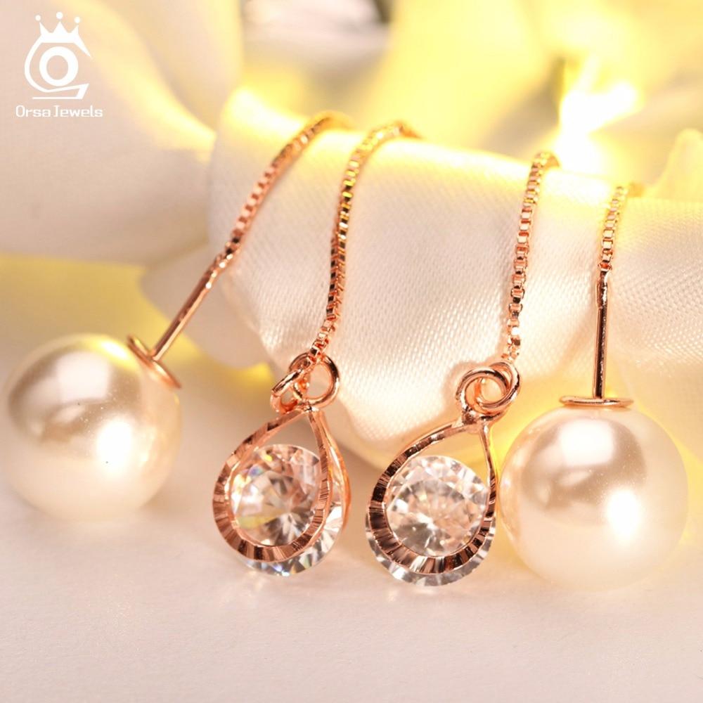 ORSA JEWELS Ny vanddråbeform østrigske krystal lange øreringe med - Mode smykker - Foto 2