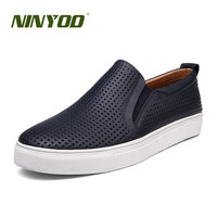 NINYOO Summer Hollow Out Shoes Men Fashion Genuine Leather Sneakers Casual Wearproof Breathable Slip On Flats Plus Size 50 51 52