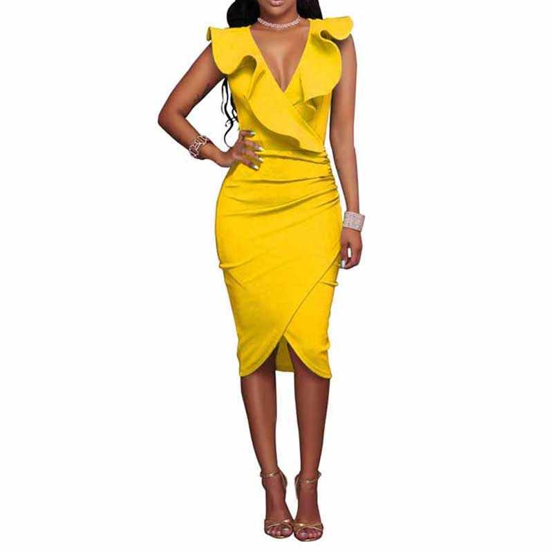 e42d146cea5d229 Пикантные с v-образным вырезом без рукавов трепал воротник облегающее платье  Летний стиль Для женщин
