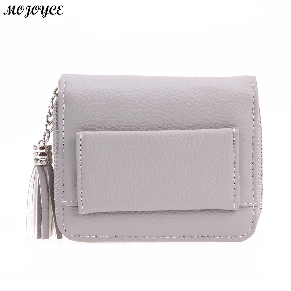 Women PU RFID Wallet Female Anti-magnetic Anti-theft Short Wallet Ladies Simple Tassel Card Coin Holder Purse Clutch Bag