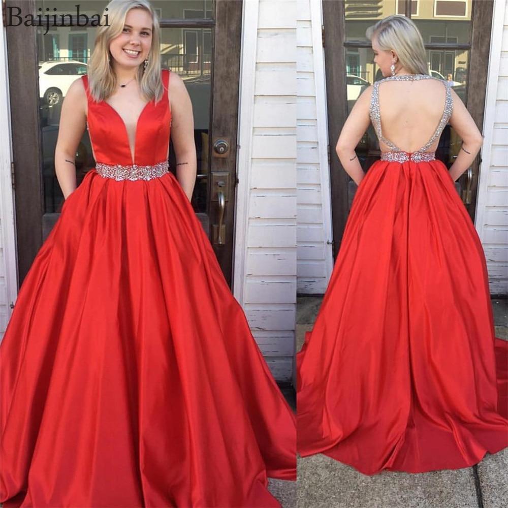 Baijinbai Red Evening Dresses with Pockets Long Illusion Deep V Neckline Beading Formal Prom Dress Floor