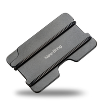 NewBring Fashion Metal ID Credit Card Holder Black Pocket Box Business Cards Wallet With RFID Anti