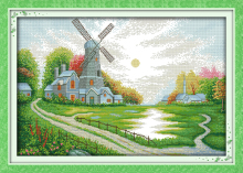 Windmill shed Patterns Counted Cross Stitch 11CT 14CT Cross Stitch Set wholesale Scenery Cross-stitch Kit Embroidery Needlework