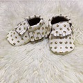 2017 Wholesale 20 pairs/lot New Gold Polka dots Genuine Leather baby Moccasins baby Girls Shoes Newborn Anti-slip Infant Shoes