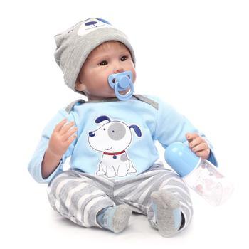 Nicery 20-2inch 50-55cm Bebe Reborn Doll Soft Silicone Boy Girl Toy Reborn Baby Doll Gift for Child Blue Dog Cloth Hat Baby Doll