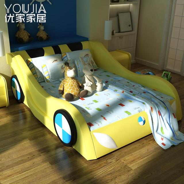 Child Car Bed Leather Cartoon Race 15 Meters 12 Boy Fashion Personality Twin Room Furniture