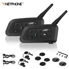 2 pcs V6 Bluetooth Del Casco del Motociclo Auricolare Per 6 Riders Interphone 1200 M Wireless Intercomunicador Intercom per il Motociclo