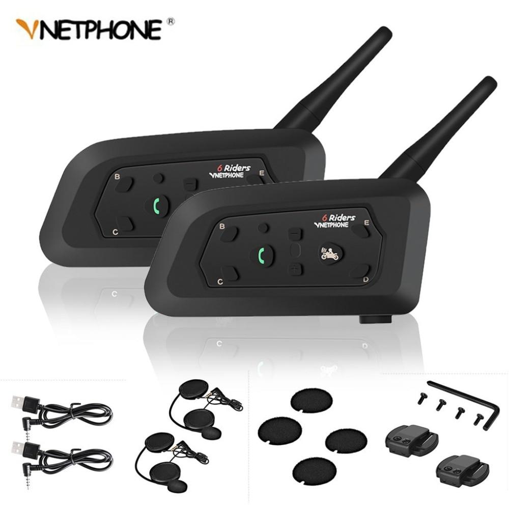 2pcs V6 Motorcycle Intercom Bluetooth Helmet Headsets For 6 Riders Interphone 1200M Wireless Intercomunicador Moto Support MP3