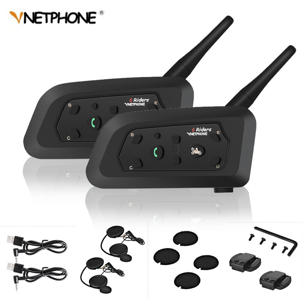 2pcs V6 Motorcycle Intercom Bluetooth Helmet Headsets For 6 Riders Interphone 1200M Wireless Intercomunicador Moto Support MP3