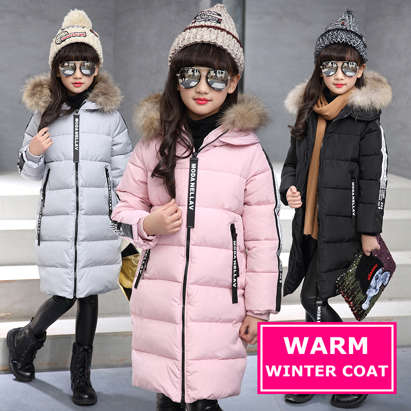 Fashion Down Coat For Kids Winter Girls Black Hooded Letter Parka Jackets Coats Thick Warm Children's Outerwear & Coats Clothes covrlge 2017 male jacket brand fashion parka jackets winter coat for men thick warm mens hooded parkas plus size overcoat mwm010