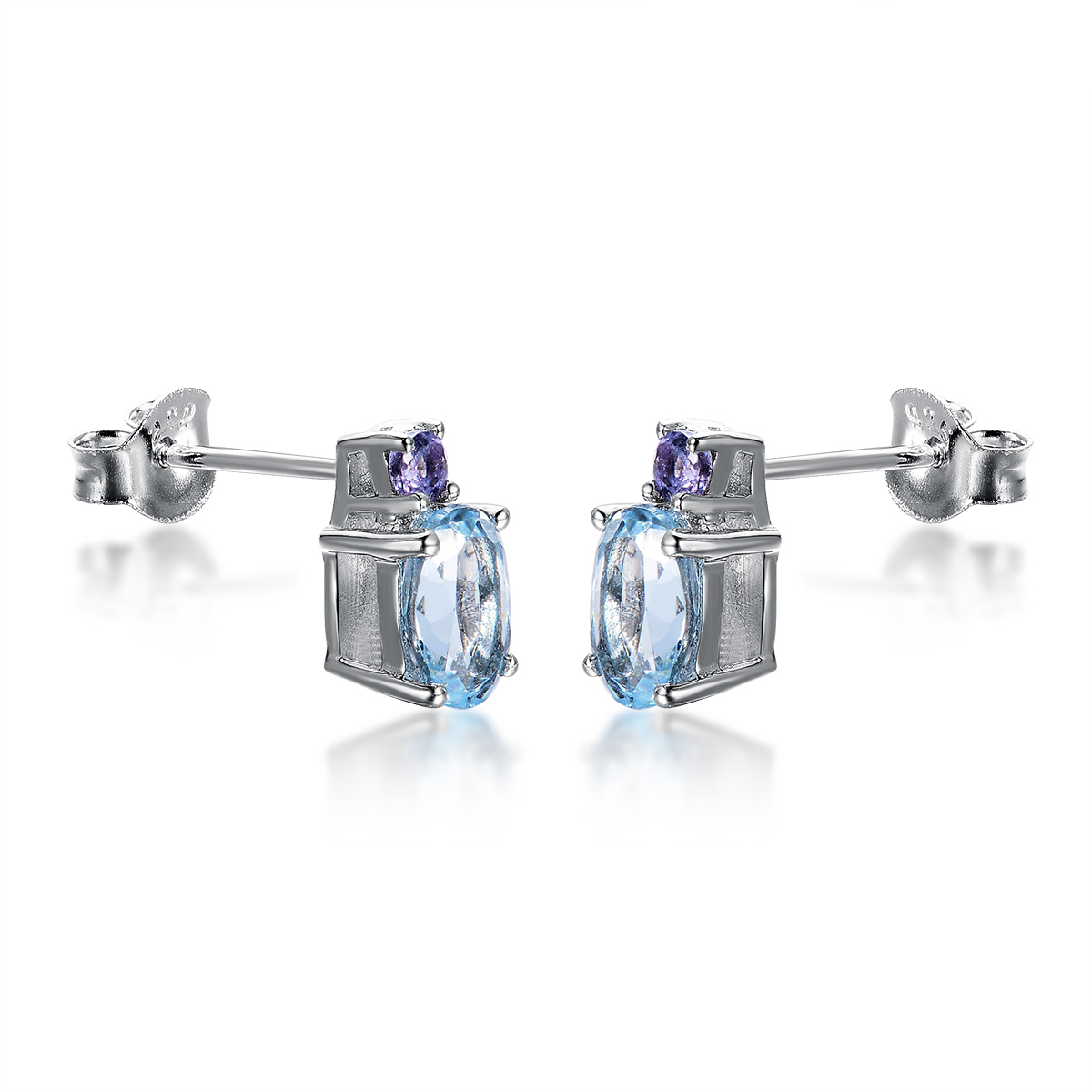 Hutang Natural Blue Topaz & Tanzanite Stud Earrings Solid 925 Sterling  Silver Gemstone Fine Jewelry Women's Gift