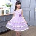 2017, лето, новый рукавов девушка слоистых платье фиолетовый повседневная симпатичные Перлы цветка платье принцессы для девочки-подростка 6-14Y