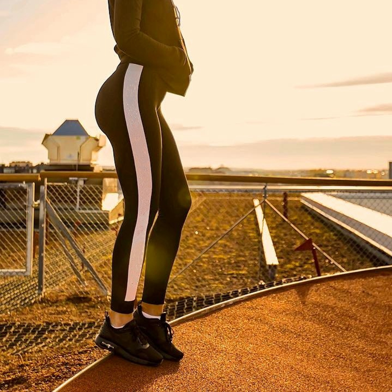 Fashion Patchwork Elastic Fitness   Leggings   High Waist Workout   Leggings   Slim Fit Pants
