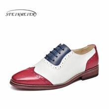 Yinzo Scarpe Flat Oxford Scarpe Donna vera Pelle di Colore Giallo Scarpe Da Tennis Delle Signore Stringata Vintage Casual scarpe Estive Per Le Donne 2020