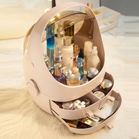 Transparent Acrylic Clamshell 3 Drawer Dressing Table Rounded Makeup Holder Storage Box For Lipstick Jewelry Cosmetic Organizer