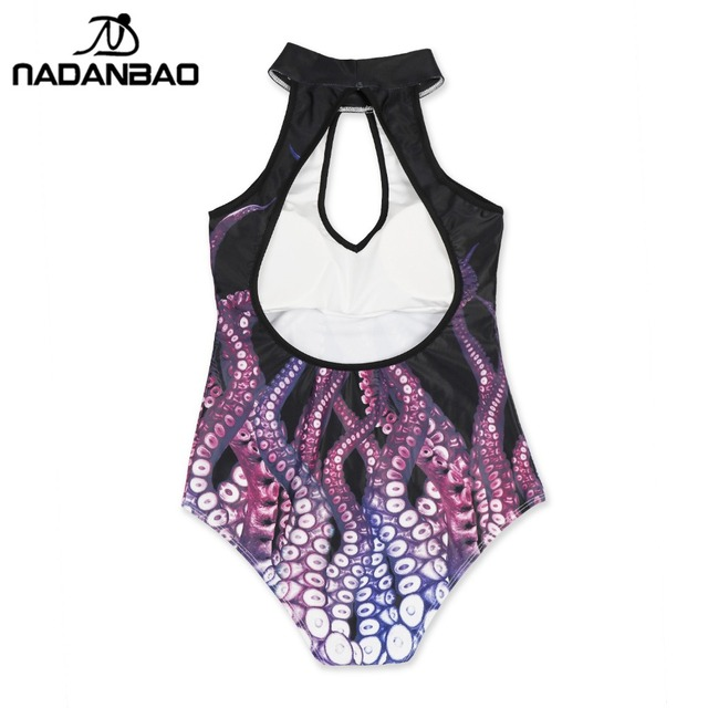 NADANBAO Plus Size Summer Women Colorful Mermaid Octopus One Piece Beachwear Bodysuit Halter Swimsuit Swimwear
