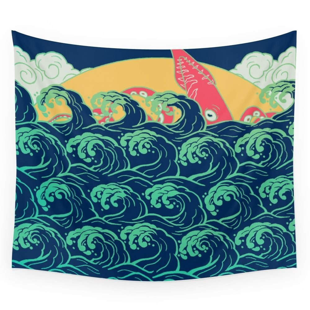 High Quality Squid On The Waves Wall Tapestry Cover Beach Towel Throw Blanket Picnic Yoga Mat Home Decoration Textiles