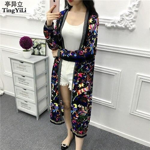 Aliexpress.com : Buy TingYiLi Fringe Kimono Cardigan Women Long ...