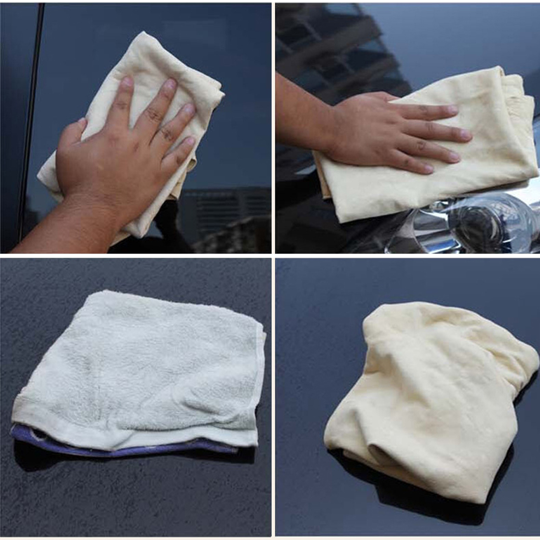 BU-Bauty  Top Brand 40 * 70CM 32 * 43CM Natural Shammy Chamois Leather Car Cleaning Towels Drying Washing Cloth New Arrival