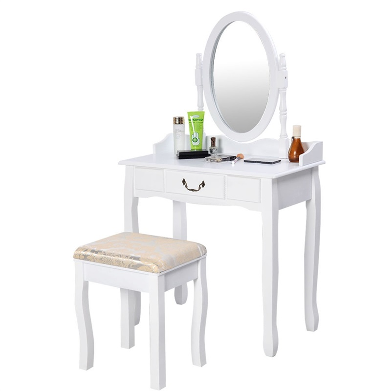 US $134.12 45% OFF|Modern Women Bedroom Set Furniture White Vanity Makeup  Desk Dresser Table and Stool Set with Rotating Mirror HW50200-in Dressers  ...