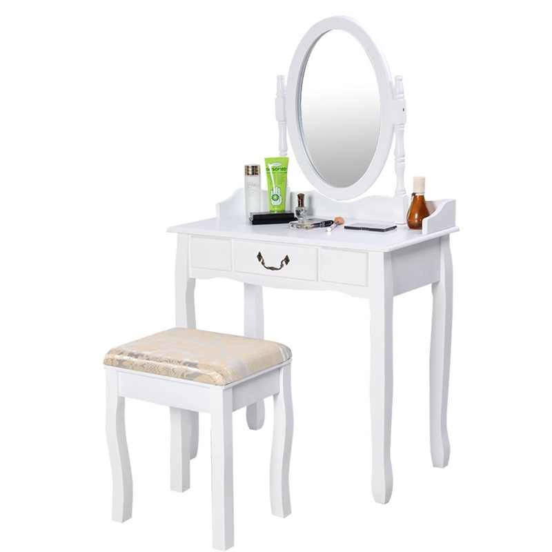 Modern Women Bedroom Set Furniture White Vanity Makeup Desk Dresser Table and Stool Set with Rotating Mirror HW50200