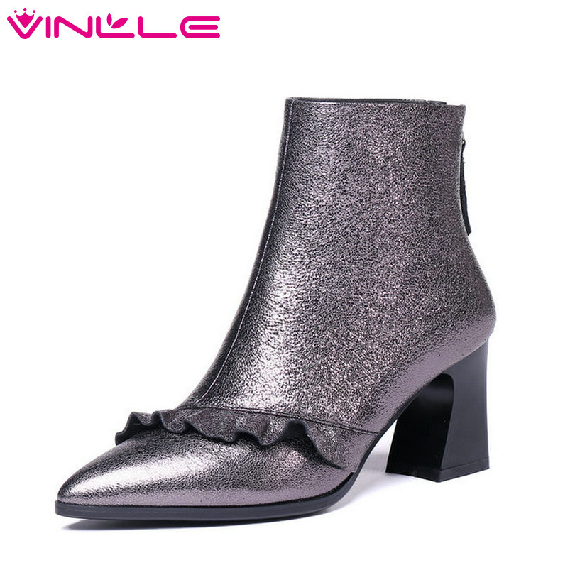 VINLLE2019 New Arrive Fashion Women Ankle Boots Zipper