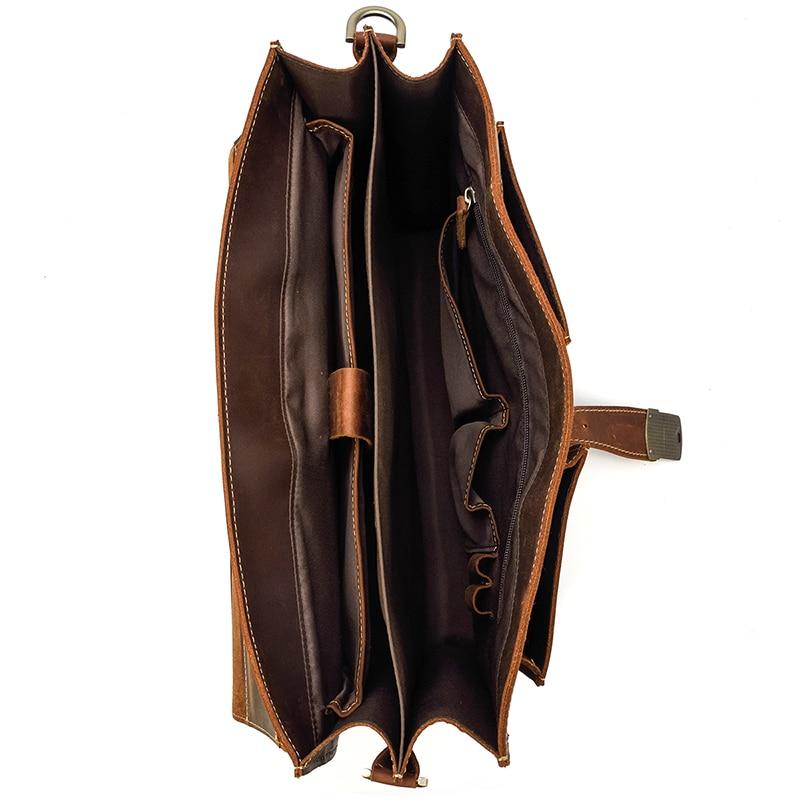 "HTB1oT1GQCzqK1RjSZFjq6zlCFXaL Vintage Men's Genuine Leather briefcase 16"" Cowhide Business bag Cow leather Laptop Double Layer messenger bag PC work tote"