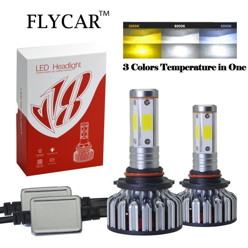 FLYCAR 4300K 6000K 8000K LED Headlight Bulb H1 H7 H11 9005/HB3 9006/HB4 H4 9007/HB5 9012 Turbo Car Light 12V/24V 60W/set