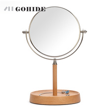 JUH A Wood Stand Desktop Cosmetic Mirror Table Mirror Double Side 6 Inch  Makeup Mirrors Round Shape Rotating High Magnification