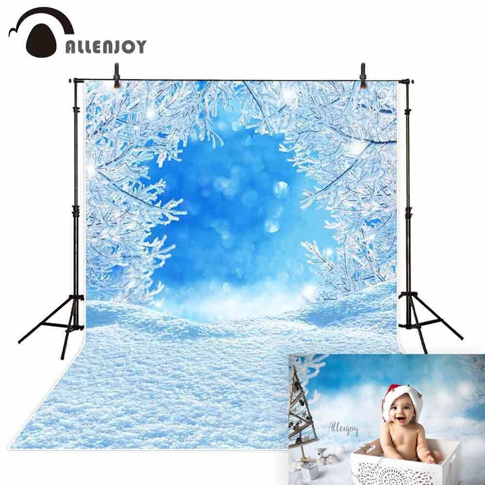 Allenjoy christmas backdrops for photography Snow winter wonderland Snowflake blue ice tree background photocall photo studio