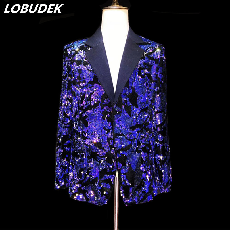 Shining Blue Purple Sequins Jacket Men's Suit Jackets Fashion Slim Blazers Coat Male Singer Nightclub Clothing Host Show Costume - 1