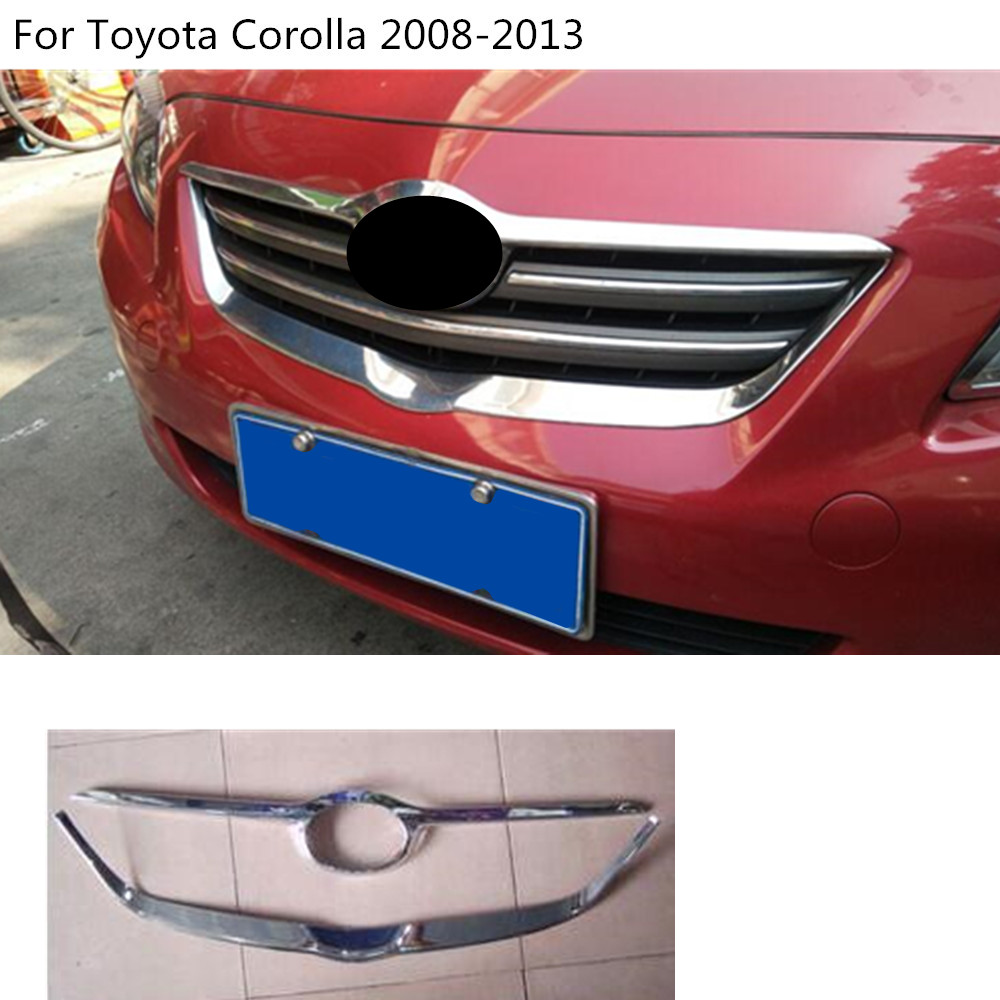 car ABS chrome trim Front up head racing Grid Grill Grille panel 2pcs For Toyota Corolla Altis 2008 2009 2010 2011 2012 2013 abs chrome front center grille grill cover trim for ford explorer 2011 2012 2013 2014