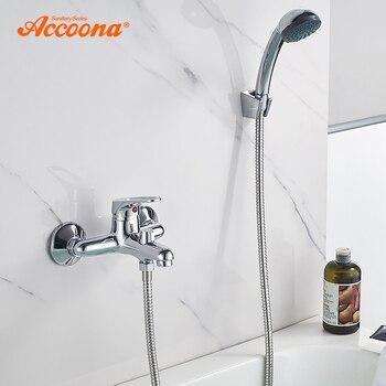 Accoona смеситель для ванны хромированный латунный корпус смеситель для ванны Водопад Ванная комната с одной ручкой двойной контроль Смесител...