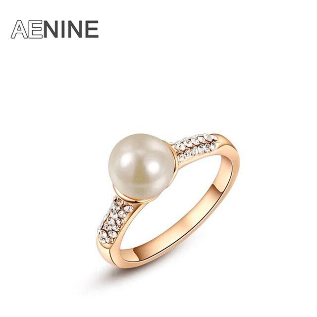 AENINE Rhinestone Wedding Rings For Women Simulated Pearl Elegant Charm Plated J