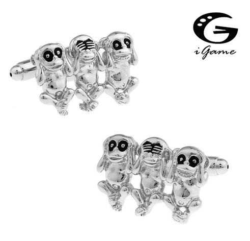 IGame Factory Price Retail Men's Cufflinks Brass Material Monkey Design Cuff Links