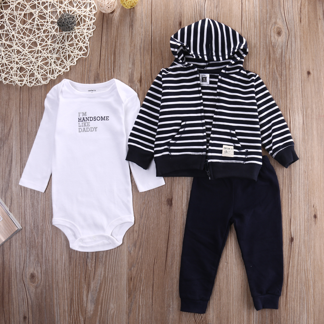6c352cfd7b8 2018 Spring Winter 3pc Set striped Baby Boy Outfit Jacket+White Romper+Blue  Pants Clothing Set