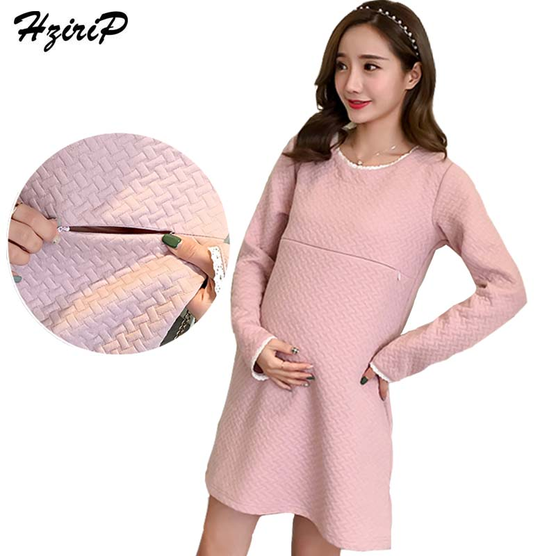 HziriP Maternity Dress New 2017 Autumn Winter Casual Loose Long-sleeve Pregnant Breastfeeding Dresses Women Nursing Clothes winter solid color knitted tunic dresses pregnant woman bottoming knitwear long sleeve wool loose dress women clothes pullovers