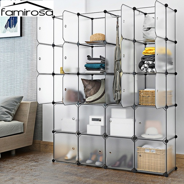 Famirosa Interlocking Modular Wardrobes Clothes Storage Organizer Closet  With Doors For Home Clothes Shoes Toys Storage