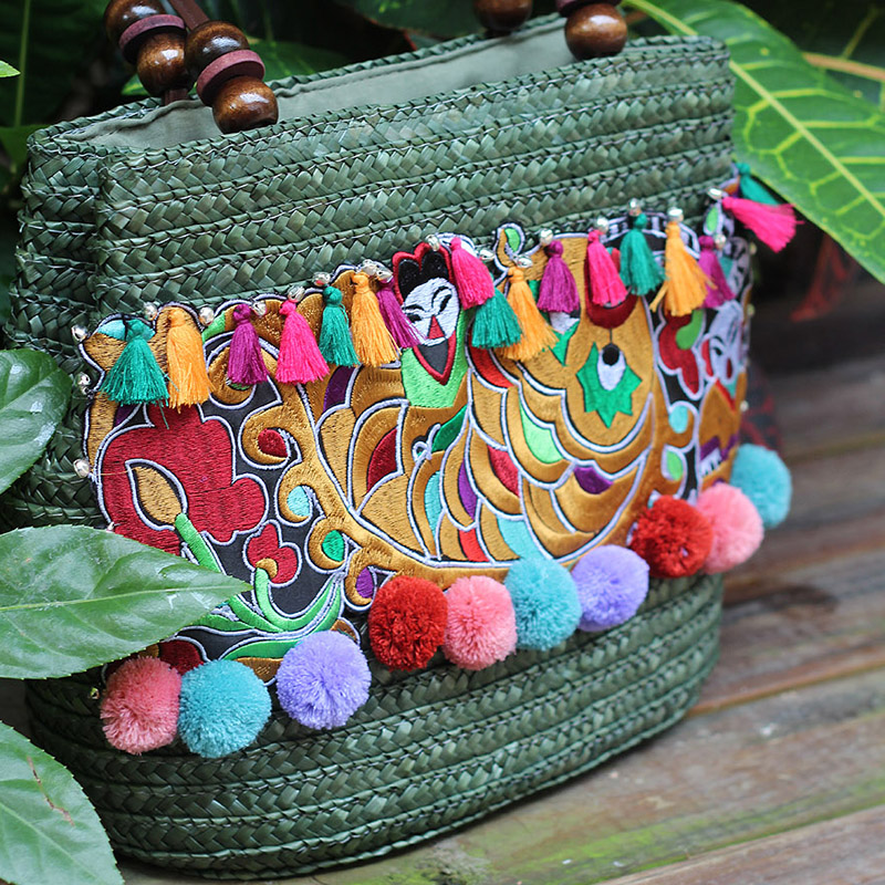 Beach Tavel Bohemian Boho Weave Straw Brand Bag Luxury Quality Women 2016 Thai Pompom Tassel Woven Knitting Embroidered Handbags